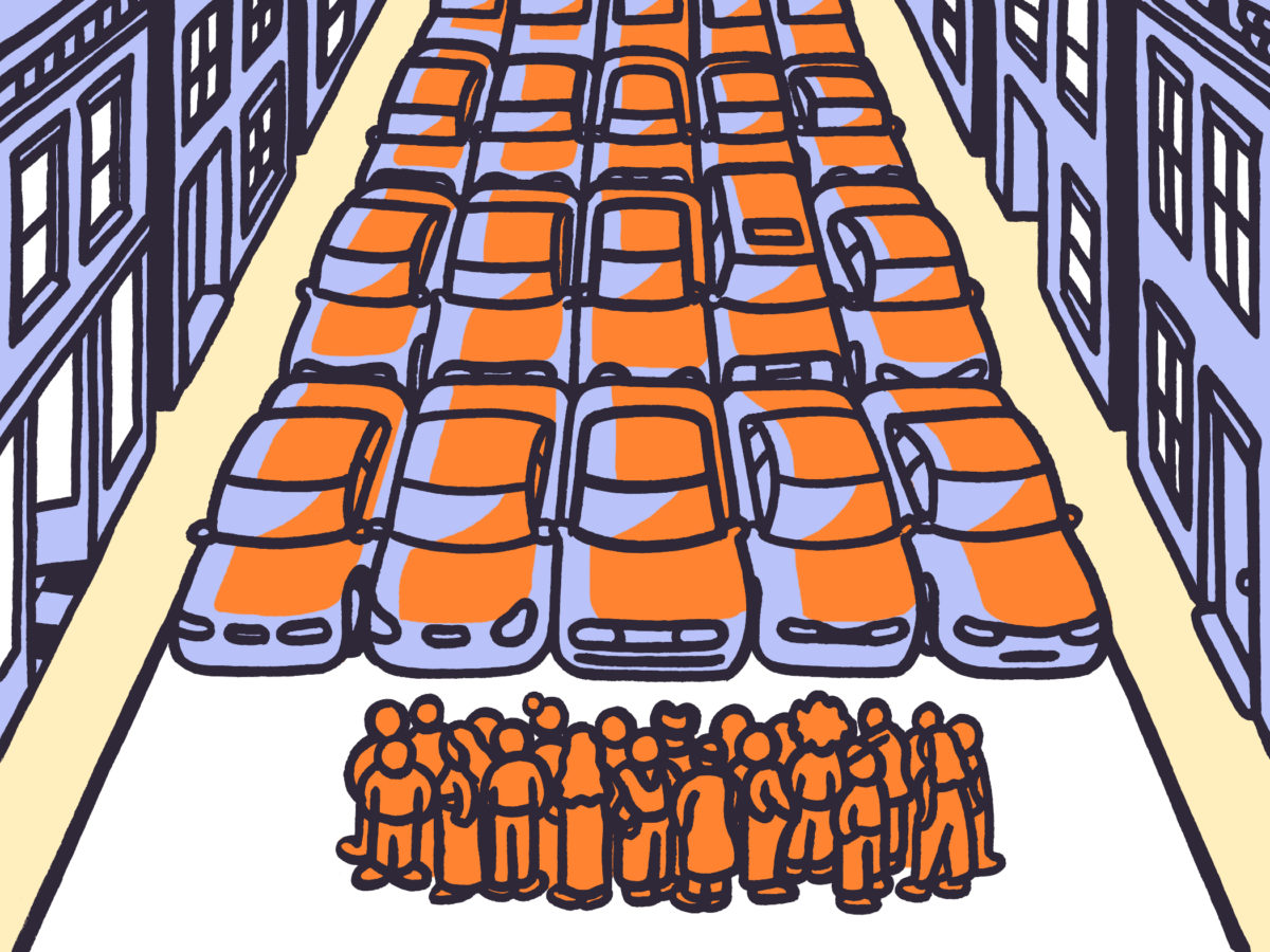 An illustration of a crown of people in front of several rows of cars.
